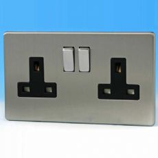 Varilight 2 Gang 13 Amp Switched Plug Socket Screwless Matt Chrome Dec Switch Black Insert XDS5BS